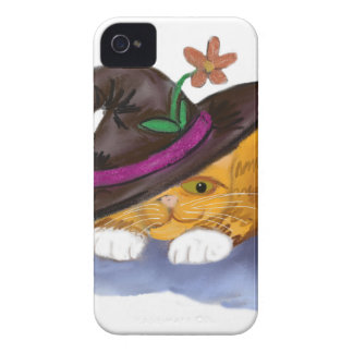 Orange Tiger Kitten and Mouse Don Witch Hats iPhone 4 Cover