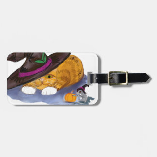Orange Tiger Kitten and Mouse Don Witch Hats Luggage Tag