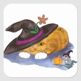 Orange Tiger Kitten and Mouse Don Witch Hats Square Sticker