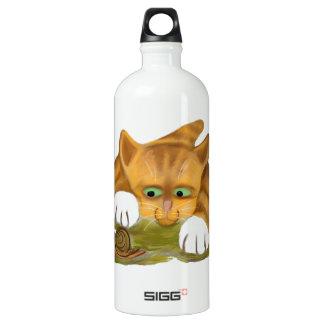 Orange Tiger Kitten finds a Snail Water Bottle