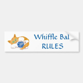 Orange Tiger Kitten plays with a Blue Whiffle Ball Car Bumper Sticker