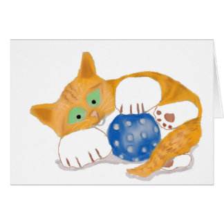 Orange Tiger Kitten plays with a Blue Whiffle Ball Card