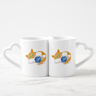 Orange Tiger Kitten plays with a Blue Whiffle Ball Coffee Mug Set