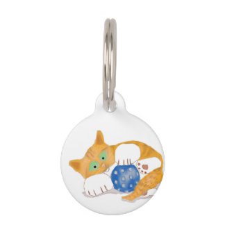 Orange Tiger Kitten plays with a Blue Whiffle Ball Pet ID Tag