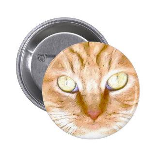 Orange Tiger Kitty Pinback Buttons