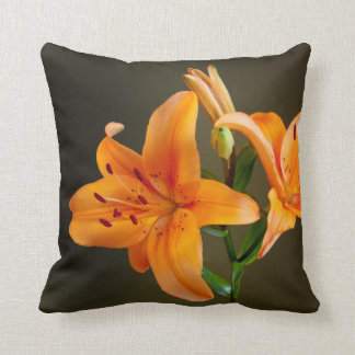 Orange Tiger Lilies and Buds Photograph Throw Pillow