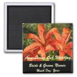 Orange Tiger Lilies Wedding Save the Date Magnet