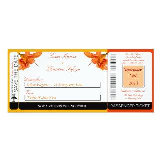Orange Tiger Lill Boarding Pass Wedding Invitation