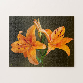 Orange Tiger Lillies and Buds Close Up Photograph Jigsaw Puzzle
