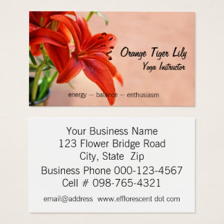 Orange Tiger Lily Close Up Photograph Business Card