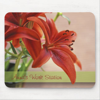 Orange Tiger Lily Close Up Photograph Mouse Pad