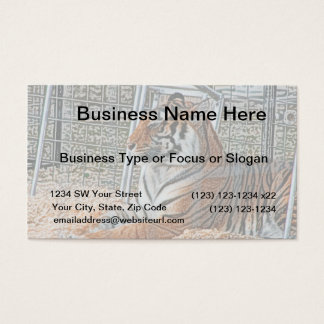 Orange tiger looking right sitting up sketch image business card