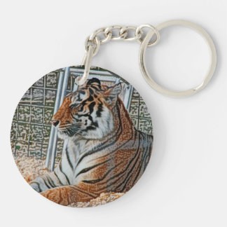 Orange tiger looking right sitting up sketch image Double-Sided round acrylic keychain
