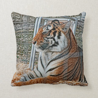 Orange tiger looking right sitting up sketch image throw pillow