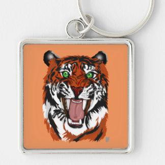orange tiger Silver-Colored square keychain