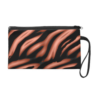 orange tiger stripe wristlet purse