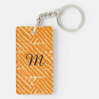 Orange Tiger Stripes Canvas Look Double-Sided Rectangular Acrylic Keychain