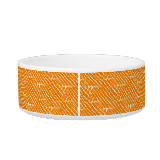 Orange Tiger Stripes Canvas Look Cat Water Bowls
