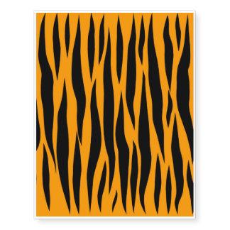 Orange Tiger Stripes Pattern Background Print Wild Temporary Tattoos