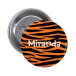 Orange Tiger / Zebra Stripes Button