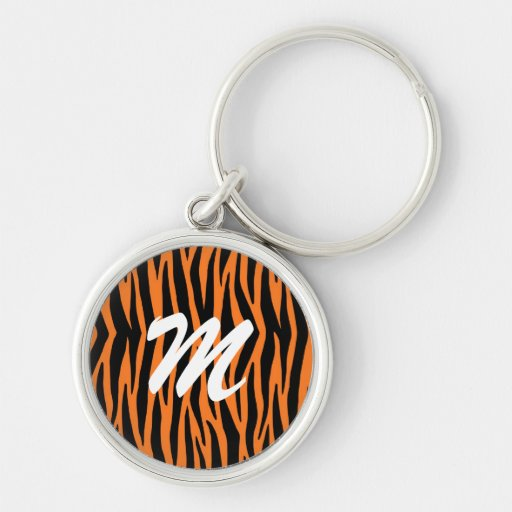 Orange Tiger / Zebra Stripes Key Chain