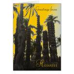 Orange tiki Hawaii theme greeting card