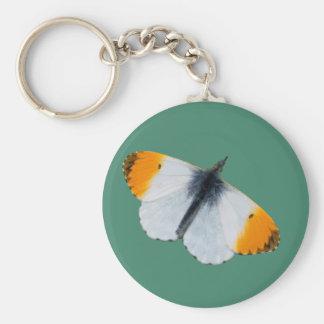 Orange tip butterfly basic round button keychain