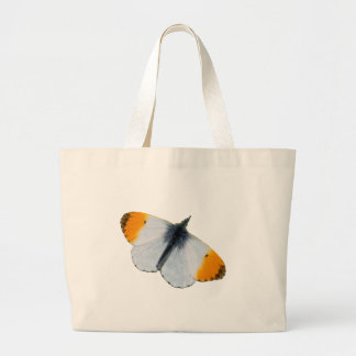 Orange tip butterfly large tote bag