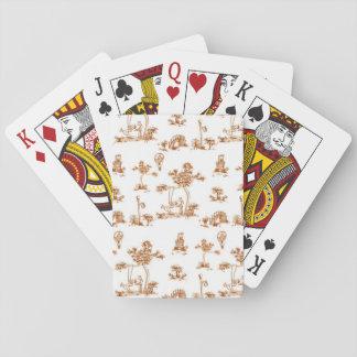 Orange Toile Unicorn Poker Deck