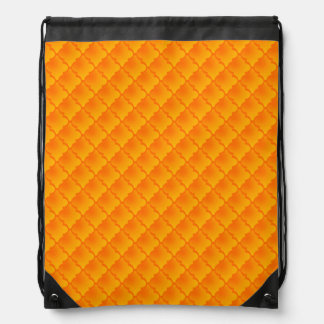 Orange Tone Quatrefoil Pattern Drawstring Backpack