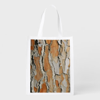 Orange Tone Tree Bark Texture Reusable Grocery Bag