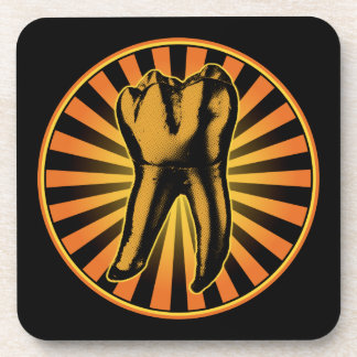 Orange Tooth Graphic Emblem Drink Coaster