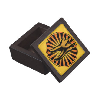 Orange Tooth Graphic Emblem Keepsake Box