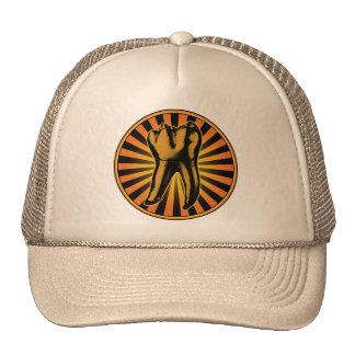 Orange Tooth Graphic Emblem Mesh Hats