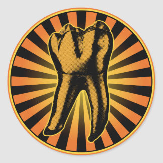 Orange Tooth Graphic Emblem Classic Round Sticker