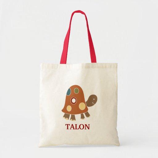 Orange Tortoise Turtle Tote Bag - add a NAME!