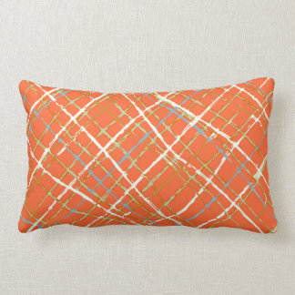 Orange Touch of Gray Blue Green Ivory Plaid Lumbar Pillow