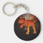 Orange Toy T-Rex Dinosaur in Space Keychain