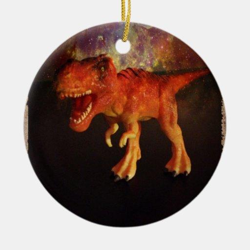 Orange Toy T-Rex Dinosaur in Space Ornament