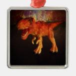 Orange Toy T-Rex Dinosaur in Space Christmas Ornament