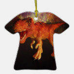 Orange Toy T-Rex Dinosaur in Space Christmas Ornaments