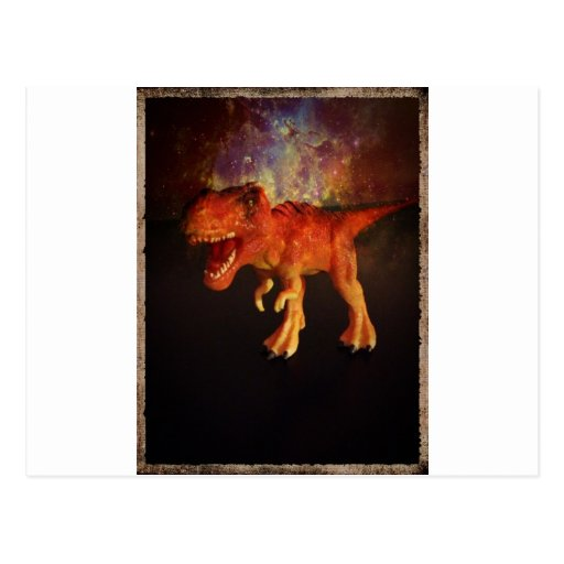 Orange Toy T-Rex Dinosaur in Space Postcard