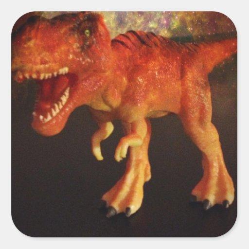 Orange Toy T-Rex Dinosaur in Space Square Sticker