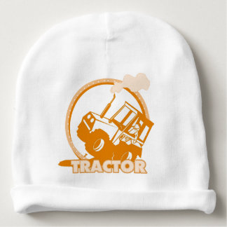 Orange Tractor Farm Machinery Baby Beanie