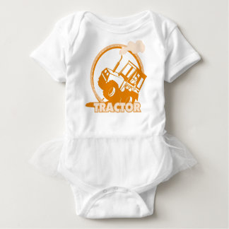 Orange Tractor Farm Machinery Baby Bodysuit