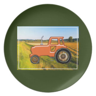 Orange Tractor in the Farm Fields Party Plate