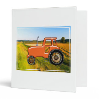 Orange Tractor  in the Fields 3 Ring Binder