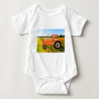 Orange Tractor  in the Fields Baby Bodysuit