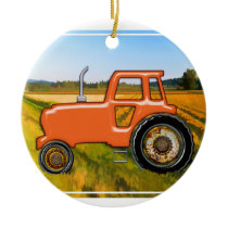 Orange Tractor  in the Fields Ceramic Ornament