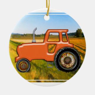 Orange Tractor  in the Fields Ceramic Ornament